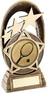 Bronze/Gold Generic Tri-Star Oval With Tennis Insert Trophy - 5.5in