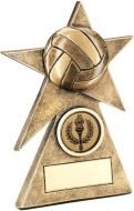 Bronze/Gold Gaelic Football Star On Pyramid Base Trophy - (1in Centre) - 4in