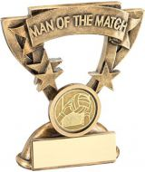 Bronze/Gold/Gold Man Of The Match Mini Cup With Gaelic Football Insert Trophy Award - 3.75in