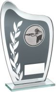 Grey/Silver Glass Plaque With Shooting Insert Trophy 6.5in