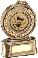 Bronze/Gold Medal And Ribbon With Badminton Insert Trophy - 5.75in