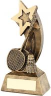 Bronze/Gold Badminton Rackets/Shuttlecock With Shooting Star Trophy - 5.75in