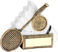 Bronze/White Badminton Shuttlecock And Racket Chunky Flatback Trophy Award