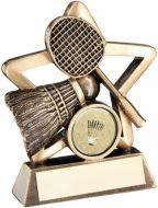Bronze/Gold Badminton Mini Star Trophy 3.75in