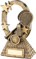 Bronze/Gold Badminton Oval/Stars Series Trophy - (1in Centre) 6.25in