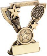 Bronze/Gold Badminton Mini Cup Trophy - (1in Centre) 3.75in