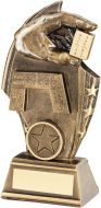 Bronze/Gold Dominoes Curved Plaque Trophy - (1in Centre) 5.5in