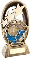 Bronze/Gold/Blue Swimming Tri-Star Oval Plaque Trophy - 5.5in