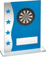 Blue/Silver Printed Glass Plaque With Dartboard Image Trophy Award - 6.5in