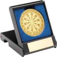 Black Plastic Box With Darts Insert - Gold - 3.5in