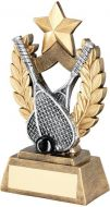 Bronze/Gold/Gold/Pewter/Black Squash Wreath Shield With Gold Star Trophy Award - 5.75in
