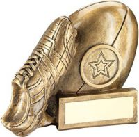 Bronze/Gold/Gold Rugby Ball And Boot Chunky Flatback Trophy Award - 4.25in
