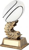 Bronze/Gold/Gold/Black/White Rugby Ball On Laurel Leaf Trophy Award - 6.75in