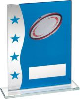 Blue/Silver Printed Glass Plaque With Rugby Ball Image Trophy Award - 8in