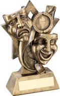 Bronze/Gold Drama Masks On Star Backdrop Trophy - (1in Centre) 5.75in