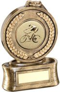 Bronze/Gold Medal And Ribbon With Cycling Insert Trophy - 5.75in