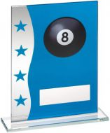 Blue/Silver Printed Glass Plaque With Pool Ball Image Trophy Award - 6.5in