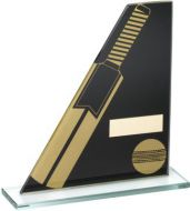 Black/Gold Printed Glass Plaque With Cricket Bat/Ball Trophy - 5.75in