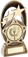 Bronze/Gold Generic Tri-Star Oval Plaque Trophy - (2in Centre) 7.25in