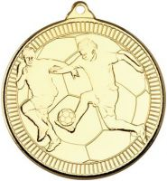 Football Multi Line Medal Gold 2in