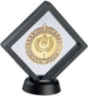 Black/Clear Plastic Medal Box With Stand - 6in