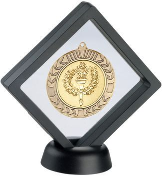 Black Clear Plastic Medal Box With Stand - 6in