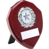 Rosewood Shield Trophy Award Silver Trim Trophy 4in