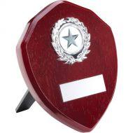 Rosewood Shield Trophy Award Silver Trim Trophy 5in