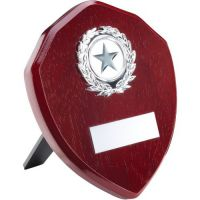 Rosewood Shield Trophy Award Silver Trim Trophy 5in