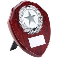 Rosewood Shield Trophy Award Silver Trim Trophy 6in