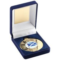 Blue Velvet Box Medal Scotland Trophy Gold 3.5in