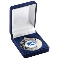 Blue Velvet Box Medal Scotl Trophy Silver 3.5in