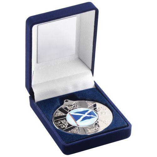Blue Velvet Box Medal Scotl Trophy Silver 3.5in