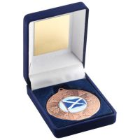Blue Velvet Box Medal Scotl Trophy Bronze 3.5in