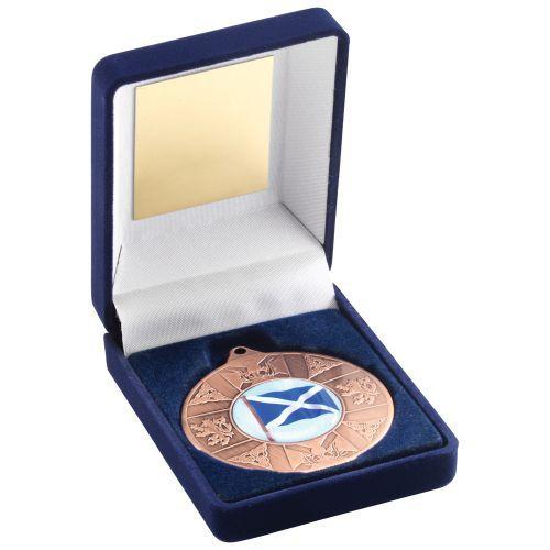 Blue Velvet Box Medal Scotl Trophy Bronze 3.5in