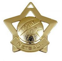 Mini Star Netball Medal Gold 60mm