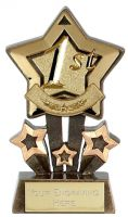Mini 1st Place Star Medal Gold 60mm