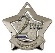 Mini 2nd Place Star Medal Silver 60mm