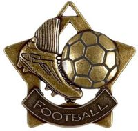 Mini Star Football Medal Bronze 60mm