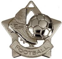 Mini Star Football Medal Silver 60mm