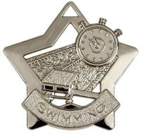 Mini Star Swimming Medal Silver 60mm