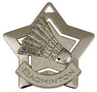 Mini Star Badminton Medal Silver 60mm