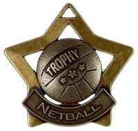 Mini Star Netball Medal Bronze 60mm