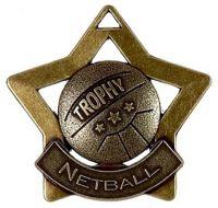 Mini Star Netball Medal Bronze 60mm