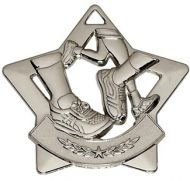 Mini Star Running Medal Silver 60mm