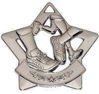 Mini Star Running Medal Silver 60mm