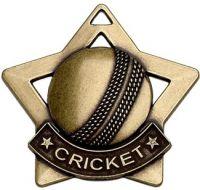 Mini Star Cricket Medal Bronze 60mm