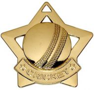 Mini Star Cricket Medal Gold 60mm