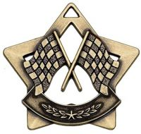 Mini Star Crossed Flags Medal Bronze 60mm