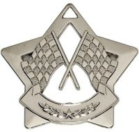 Mini Star Crossed Flags Medal Silver 60mm